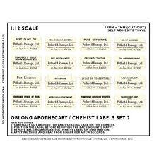 16 Puppenhaus Miniatur weiß Apotheker Etiketten für Gefäße Set 2