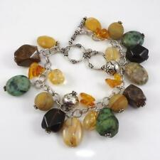 "Silpada Sterling Silver Multi Color Stone Dangle Toggle Charm Bracelet 7.5"" LFE2"