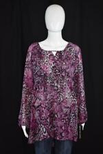 NWT Notations sz L Purple, Black, and Gray Long Sleeve Animal Print Sheer Blouse
