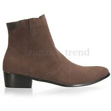 Men's Italian Style Suede Lined Chelsea Ankle Pointed Toe Boots UK Sizes