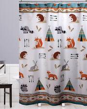 Woodland Creature Fabric Shower Curtain Camp Lodge Teepee Fox Raccoon Animal Kid