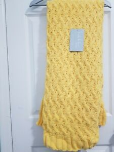 """Nicole Miller Yellow Knitted Throw Blanket 50""""X60"""""""
