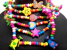 30 X stretch wood kids children birthday party favor wholesale necklace pendant