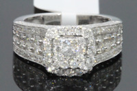 10K WHITE GOLD 1.84 CARAT WOMEN REAL DIAMOND BRIDAL WEDDING RING ENGAGEMENT RING
