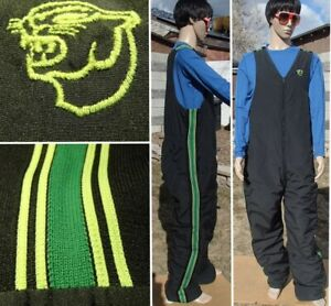 vintage 70's ARCTIC CAT insulated snowmobile bib pant green stripes mens xl tall