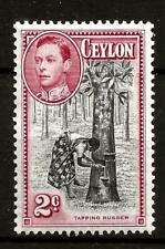 CEYLON (356) 1938 SG386a P13.5 X 13 2d BLACK & CARMINE VERY FINE MM CAT £120.00