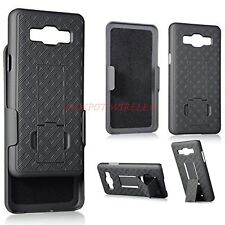 For Samsung GALAXY J3 J320 Armor Belt Clip Holster Hybrid Hard Case Cover Black