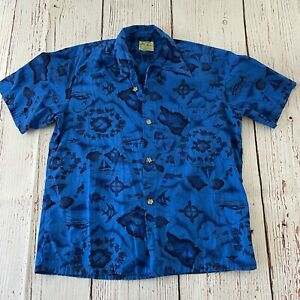 Vintage Ui-Maikai Short Sleeve Hawaiian Button Front Shirt Men's L Blue