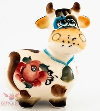 Happy cow cartoon Russian Collectible Gzhel style Colorful Porcelain Figurine