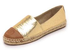 a50a0972afad42 Tory Burch Colorblock Logo Leather Espadrille Flat Size US 11 Gold royal Tan