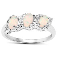 STERLING SILVER GENUINE OPAL & DIAMOND ETERNITY ENGAGEMENT RING SIZE H to W