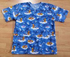 Disney Scrub Top Winnie Pooh Bear Piglet Eeyore Donkey Star Moon Cloud Blue S