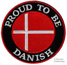 PROUD TO BE DANISH iron-on embroidered BIKER PATCH DENMARK COPENHAGEN FLAG DANE