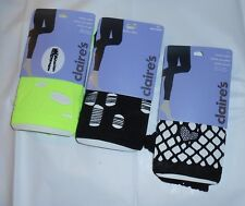 Claire's Three (3) Pairs Ripped & Lacy Footless Tights Lime Green & Black M/LNWT