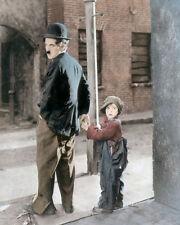 "CHARLIE CHAPLIN & JACKIE COOGAN THE KID 1921 8x10"" HAND COLOR TINTED PHOTOGRAPH"