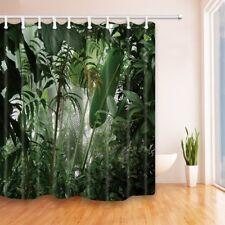 "Jungle Theme Shower Curtain Tropical plant leaves Bathroom Waterproof Fabric 70"""