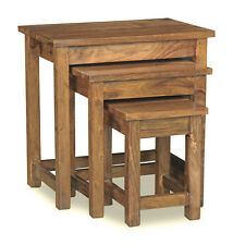 SMALL CUBA NATURAL WOOD SHEESHAM NEST OF TABLES (C33NW)