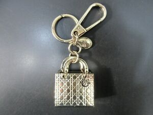 Authentic Excellent Christian Dior Cannage Motif Bag Charm Key Ring 91680