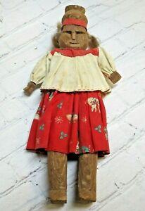 "Vtg TARAHUMARA Mexican Primitive Carved Wood Bark Doll, Raramuri, 11 3/4"" Tall"