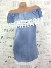 Sommerkleid Carmen Kleid HÄKEL Spitze Jeans Vintage Look 36 38 40 Blau H E352