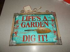 Red Shed Wooden Rustic Garden Picture LIFES A GARDEN DIG IT W Trowel Shovel  NEW