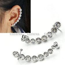Pair Fashion Women Crystal Rhinestone Steel Ear Cartilage Ear Stud Earrings Cuff