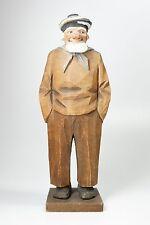 "Vintage Signed 1930 Carl Johan Trygg Wood Carving Sailor Fisherman 10.75"""