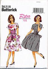 BUTTERICK SEWING PATTERN 6318 MISSES SZ 6-14 RETRO ROCKABILLY '60 DRESS & TIE