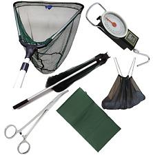 FOLDING FISHING LANDING NET WITH HANDLE + UNHOOKING MAT, SLING, SCALES , FORCEPS