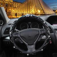 Car Luxury Crystal PU leather Steering Wheel Cover Crown Black 38cm decoration