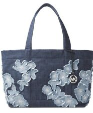 New Michael Kors cotton Denim Item Extra Large floral appliqués jeans bag indigo