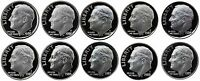 1980-1989 S Complete Set Roosevelt Dimes Gem Proof Run 10 Coins US Mint 1980's