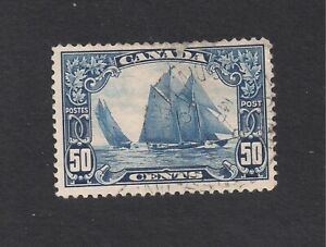 1927 CANADA #158  BLUE NOSE USED/HINGED 50 CENT ISSUE
