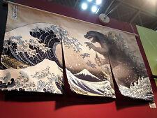 GODZILLA Noren Ecru Hokusai Waves Ukiyoe Japanese Curtain Tapestry Interior
