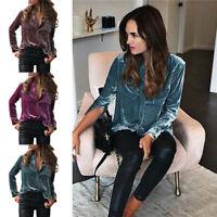 Womens Fashion T-shirt Tops Warm Velvet Turn-dowm Collar Long Sleeve Tops Blouse
