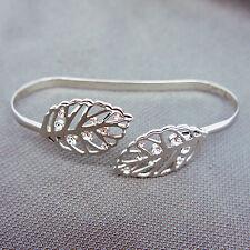 14k white Gold plt leaf filigree vintage bangle bracelet with Swarovski elements