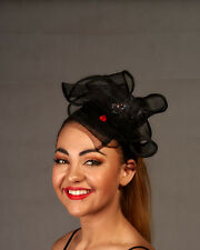 Black Loop Fascinator with Coloured Diamantes & Red Roses - BNWT - Aust Made