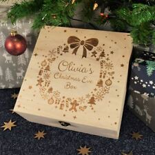 Engraved, Bespoke Childrens Wooden Christmas Eve Box, Christmas Wreath