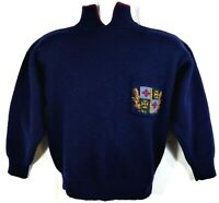 Deans of Scotland Women's Vintage Sweater Size XS-S ? Navy Blue 100% Wool Chunky
