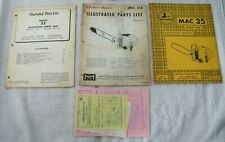 1957 MCCULLOCH MAC 35 CHAIN SAW INSTRUCTIONS MANUAL/ PARTS LISTS OEM