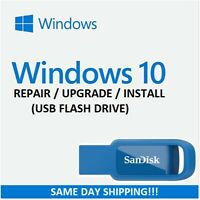 Windows 10 USB for Repair Install or Upgrade HOME & PRO VERSIONS w/HDD