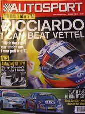 AUTOSPORT MAGAZINE OCT 2013 RICCIARDO BARRY SHEENE F1 TESTS PLATO PUSHES JORDAN