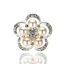 Beautiful Wedding Bridal Prom Silver Ivory Pearl Small Flower Brooch Pin BR362