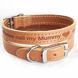 Personalised Custom Leather Dog Collar puppy Designer style Pet Id Call my Mummy