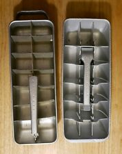 Lot of 2 Vintage Aluminum Ice Trays Magic Touch & Quickube