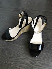 Prada Women Black Patent Leather Bamboo Wedge Sandals Shoes 37 1/5