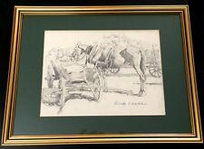 Schacht, Rudolf Pferdegespann bäuerliche Szene Zeichnung signiert gerahmt