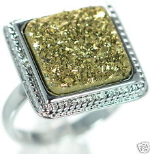 Solid 925 Sterling Silver Square Gold Color Druzy Cocktail Ring Size 6 '