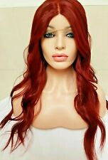 Bright Red Auburn Human Hair Wig Lace Front Free Part