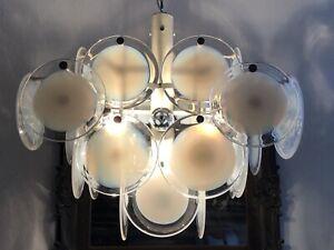 Vistosi Chandelier Murano Glas Deckenlampe Mid Century Design Leuchte 60er Lampe